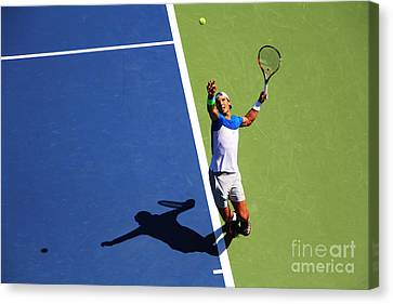 Rafeal Nadal Tennis Serve Canvas Print by Nishanth Gopinathan