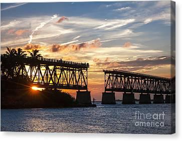 Rail Bridge At Florida Keys Canvas Print by Elena Elisseeva