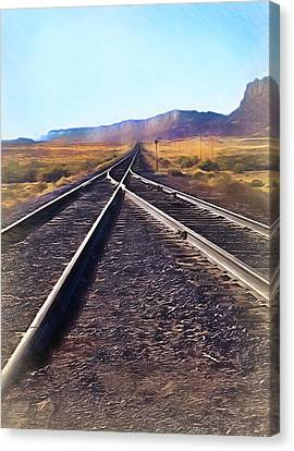 Railroad Tracks Into Horizon - Painterly Canvas Print by Steve Ohlsen