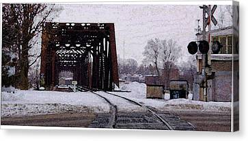 Railroad Tressel On Front Street Crossing The Grand River Canvas Print by Rosemarie E Seppala