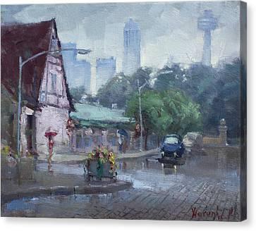 Rain In Old Falls Street Canvas Print by Ylli Haruni