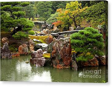 Rain On Kyoto Garden Canvas Print by Carol Groenen