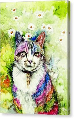 Rainbow Cat Canvas Print by Morgan Fitzsimons