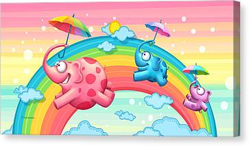 Rainbow Elephants Canvas Print by Tooshtoosh