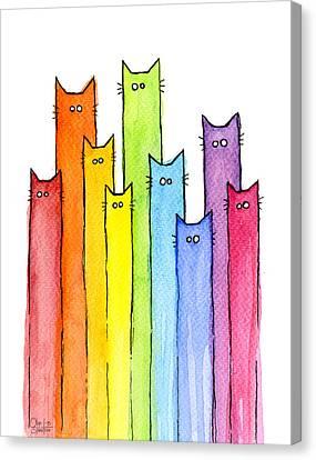Rainbow Of Cats Canvas Print by Olga Shvartsur