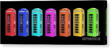 Rainbow Of London Phone Booths Tee Canvas Print by Edward Fielding