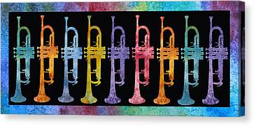 Rainbow Of Trumpets Canvas Print by Jenny Armitage
