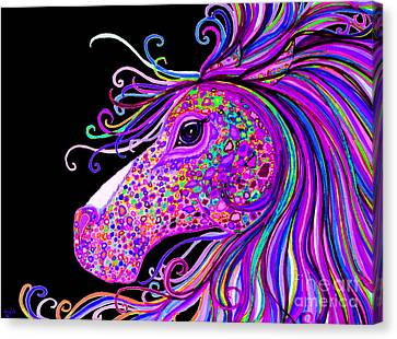 Rainbow Spotted Horse Head 2 Canvas Print by Nick Gustafson