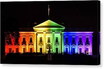 Rainbow White House  - Washington Dc Canvas Print by Brendan Reals