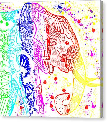 Rainbow Zentangle Elephant Canvas Print by Becky Herrera