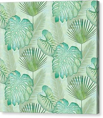 Rainforest Tropical - Elephant Ear And Fan Palm Leaves Repeat Pattern Canvas Print by Audrey Jeanne Roberts