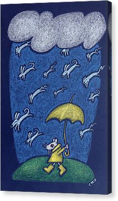 Raining Cats And Dogs Canvas Print by wendy CHO