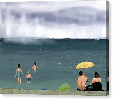Rainy Beach Canvas Print by Arline Wagner