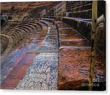 Rainy Day At The Roman Forum In Verona Italy Canvas Print by Al Bourassa