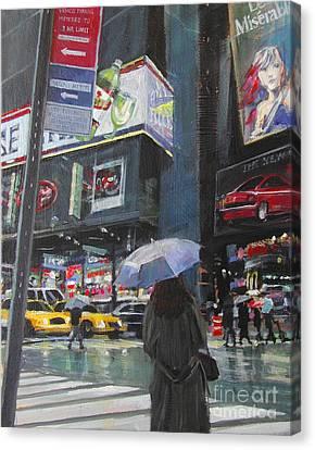 Rainy Day In Times Square Canvas Print by Patti Mollica