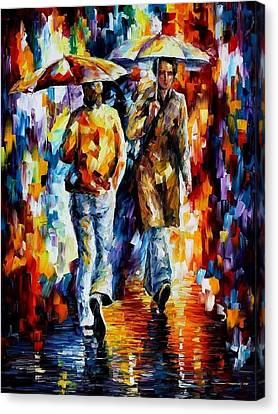 Rainy Encounter - Palette Knife Oil Painting On Canvas By Leonid Afremov Canvas Print by Leonid Afremov