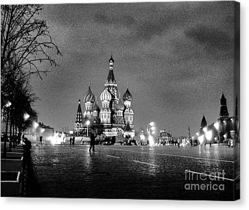 Rainy Red Square At Dusk Canvas Print by Steve Rudolph