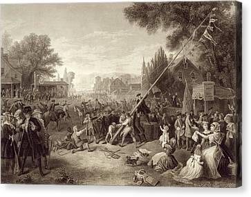 Raising The Liberty Pole 1776. An Canvas Print by Vintage Design Pics