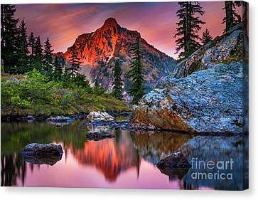 Rampart Lakes Tarn Canvas Print by Inge Johnsson