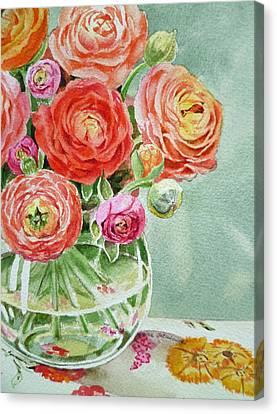 Ranunculus In The Glass Vase Canvas Print by Irina Sztukowski