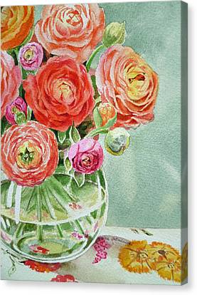 Ranunculus In The Glass Vase Canvas Print by Irina Sztukowski