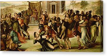 Rape Of The Sabines Canvas Print by Girolamo del Pacchia