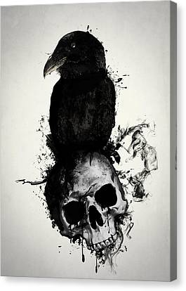 Raven And Skull Canvas Print by Nicklas Gustafsson