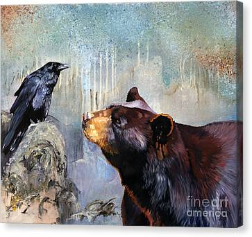 Raven And The Bear Canvas Print by J W Baker