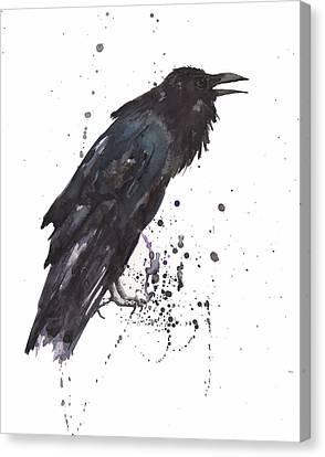 Raven  Black Bird Gothic Art Canvas Print by Alison Fennell