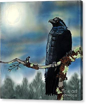 Raven Moon Canvas Print by Linda Marcille