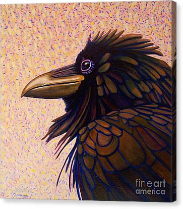 Raven Shaman Canvas Print by Brian  Commerford