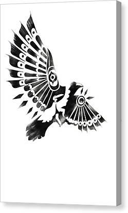 Raven Shaman Tribal Black And White Design Canvas Print by Sassan Filsoof