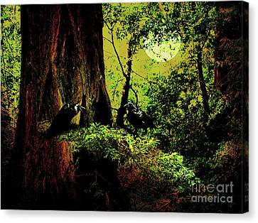 Ravens Of The Full Moon Night . 7d5443 Canvas Print by Wingsdomain Art and Photography