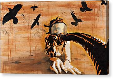 Ravens Remain The Harbinger Of Secrets Canvas Print by Tai Taeoalii