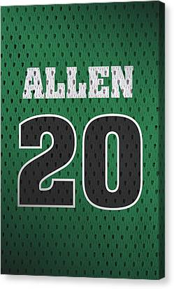 Ray Allen Boston Celtics Retro Vintage Jersey Closeup Graphic Design Canvas Print by Design Turnpike