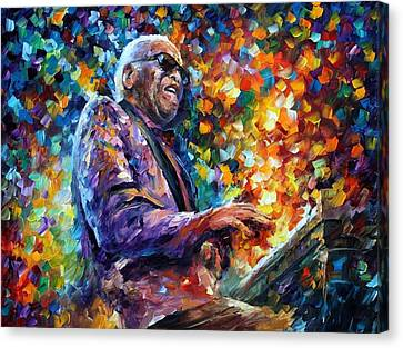 Ray Charles 2 - Palette Knife Oil Painting On Canvas By Leonid Afremov Canvas Print by Leonid Afremov