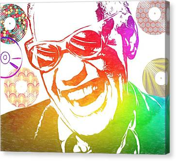 Ray Charles Retro Tribute Canvas Print by Dan Sproul