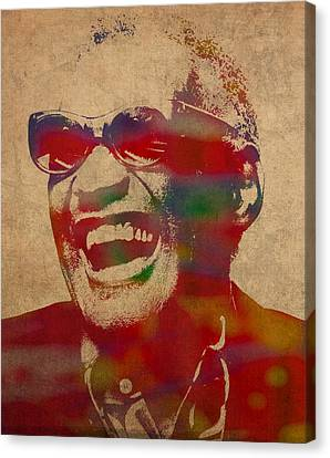 Ray Charles Watercolor Portrait On Worn Distressed Canvas Canvas Print by Design Turnpike