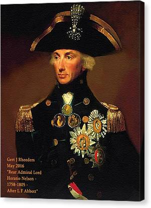Rear-admiral Lord Horatio Nelson - 1758-1805 - After L F Abbott P A Canvas Print by Gert J Rheeders
