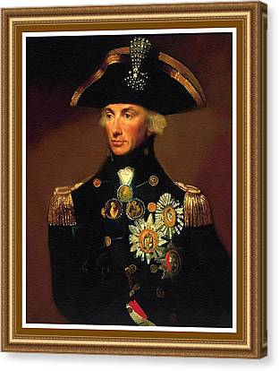 Rear- Admiral Lord Horatio Nelson - 1758-1805 After L F Abbott. P B With Decorative Printed Frame. Canvas Print by Gert J Rheeders