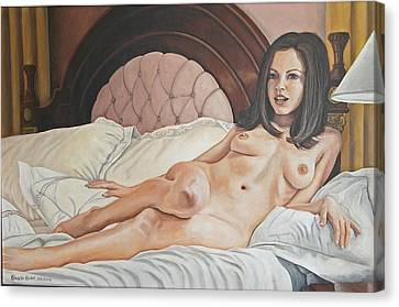 Reclining Nude Canvas Print by Kenneth Kelsoe