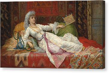 Reclining Turkish Woman Canvas Print by Emile Henri La Porte