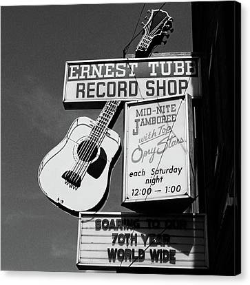 Record Shop- By Linda Woods Canvas Print by Linda Woods