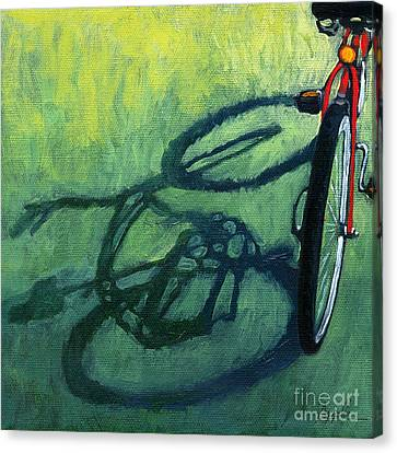 Red And Green - Bike Art Canvas Print by Linda Apple