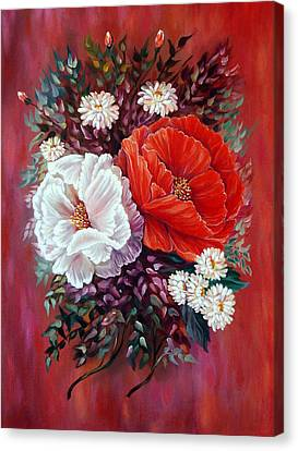 Red And White Canvas Print by Katreen Queen