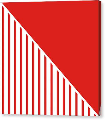 Red And White Triangles Canvas Print by Linda Woods