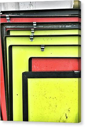 Red And Yellow Metal Canvas Print by Tom Gowanlock
