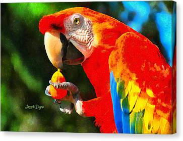 Red Arara Lunch Time - Da Canvas Print by Leonardo Digenio