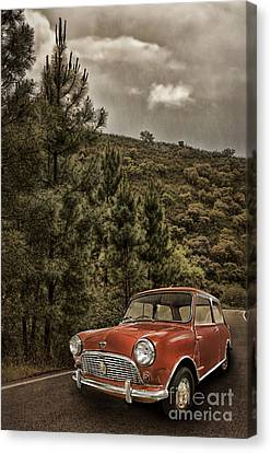 Red Austin Mini On Hill Canvas Print by Amanda And Christopher Elwell