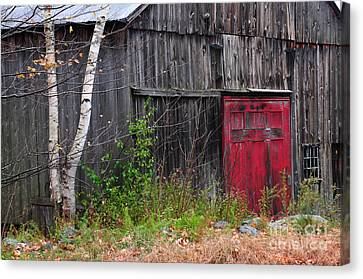 Red Barn Door - Dublin New Hampshire Canvas Print by Thomas Schoeller
